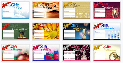 Select a design for your online Gift Certificate Order