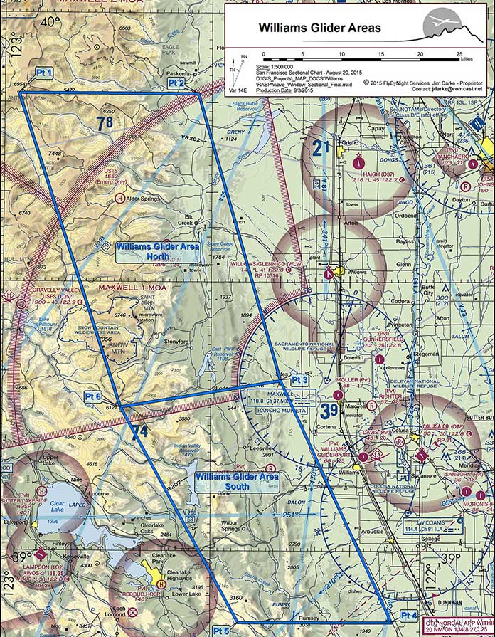 FAA - Williams Wave Sectional Map showing Glider Areas